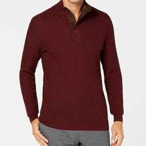Tasso Elba Men's Supima Mock-Neck Textured Sweater